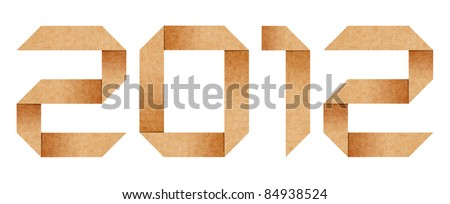 Year 2012 Origami alphabet letters from recycled paper with clipping path