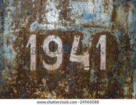 Year 1941 over a rusty steel plate.Beginning of Second World War. - stock photo