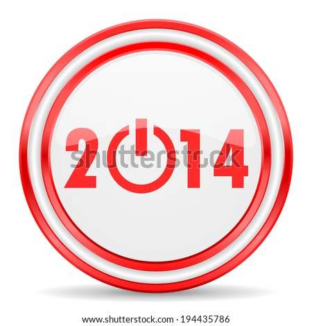 year 2014 red white glossy web icon