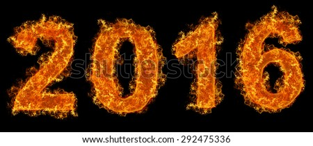 Year 2016 text on fire - stock photo