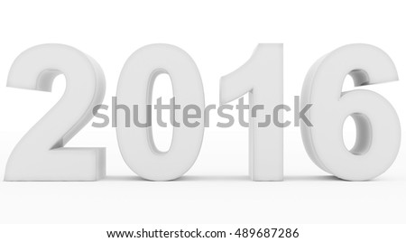 year 2016 white - 3d rendering