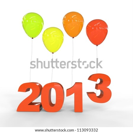 Year 2013 with balloons - stock photo