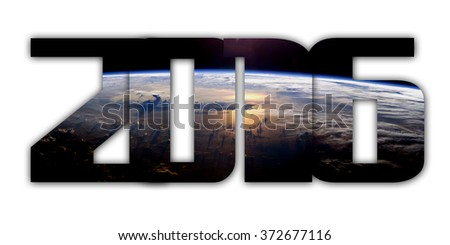 Year 2016 with Earth background. Elements of this image furnished by NASA.