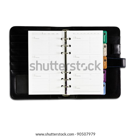 yearly business project planner book on white background