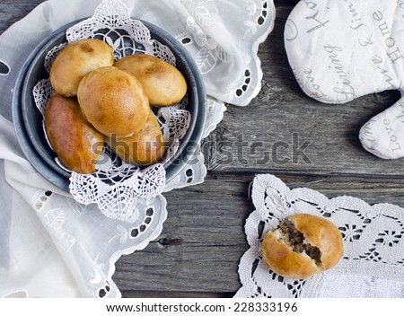 yeast buns with meat - stock photo