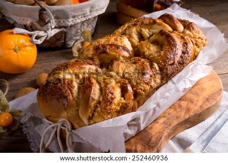 yeast dough cake with orange marmolade - stock photo