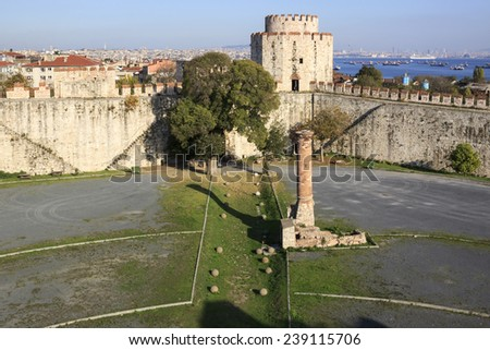 Yedikule Fortress is a section Walls of Constantinople.   - stock photo