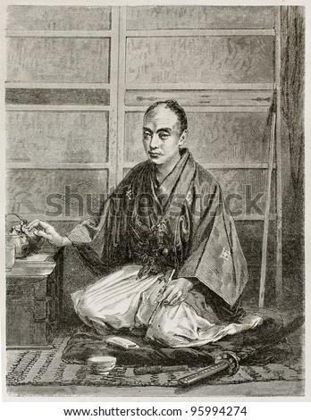Yedo (Tokyo) University Japanese student. Created by Neuville after photo of unknown author, published on Le Tour Du Monde, Ed. Hachette, Paris, 1867 - stock photo