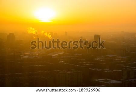 Yekaterinburg in yellow light of sun - stock photo