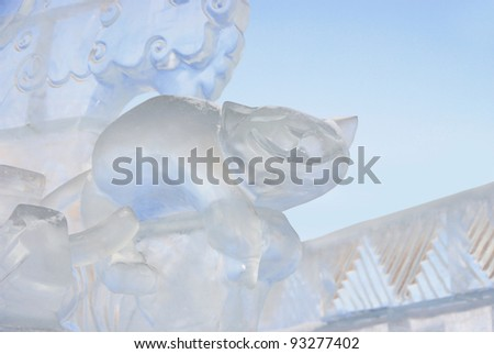 """YEKATERINBURG - JANUARY 03: """"At the End of the World"""" by Mary Vavaeva, annual competition of an ice figure, January 03, 2012 in Yekaterinburg, Russia - stock photo"""