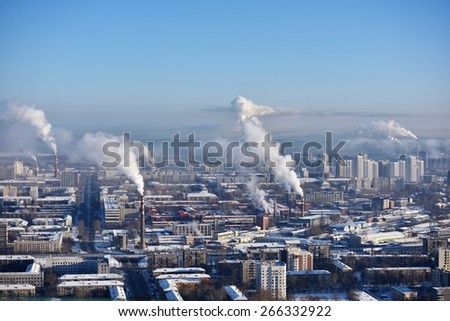 YEKATERINBURG, RUSSIA - JANUARY 2, 2015: Aerial view to the city in a winter day. Yekaterinburg is the most compact city with 1 million and more inhabitants in Russia with the built area 20 x 15 km - stock photo