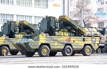 "YEKATERINBURG, RUSSIA - MAY 9: Mobile tactical surface-to-air missile system 9K33 ""Osa"" exhibited at the annual Victory day Parade on May 9, 2012 in Yekaterinburg, Russia."