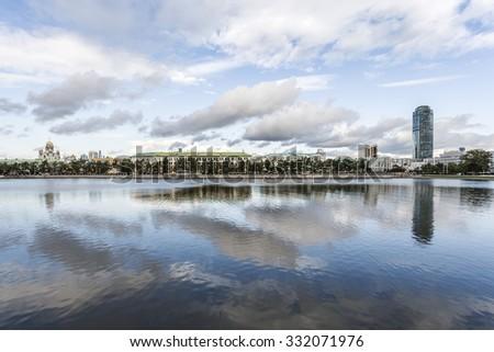 Yekaterinburg waterscape over lake Gorodskoy - stock photo