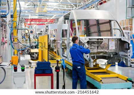"Yelabuga, Russia - May 12, 2014: assembly line vehicles Ford Sollers plant in the special economic zone ""Alabuga"" - stock photo"