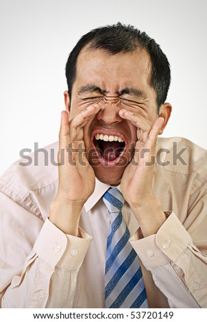 Yelling business man portrait with mouth open on white background. - stock photo