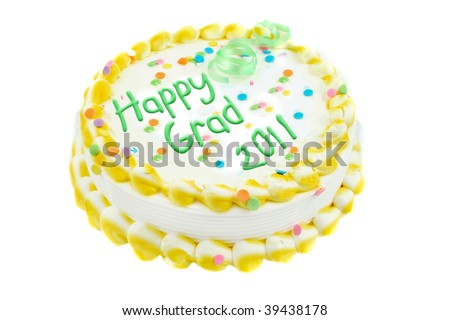 Yelllow and white frosted festive cake celebration graduation year of 2011 isolated on a white background