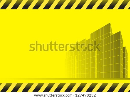 yellow abstract construction background with skyscrapers, road and space for text - stock photo