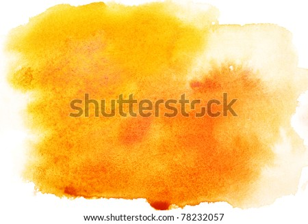Yellow abstract watercolor strokes, may be used as background - stock photo