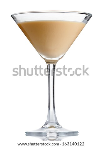 Yellow alcohol cocktail with milk isolated on white background - stock photo