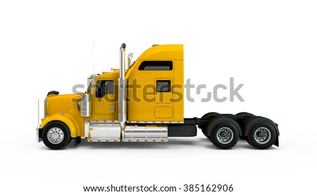 Yellow american truck isolated on white background