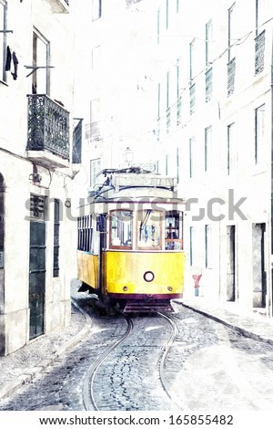 yellow ancient tram on streets of Lisbon, Portugal. Imitation of water color drawing - stock photo