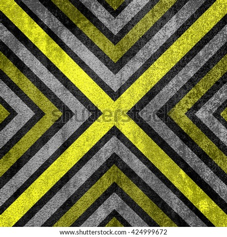 Yellow and black abstract old background texture with X pattern. - stock photo