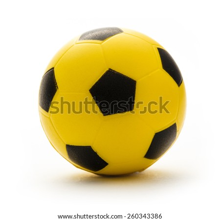 Yellow and black football toy on white background  - stock photo