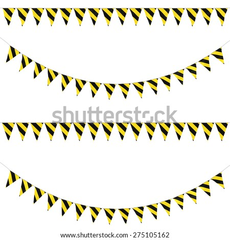 Yellow and Black Striped Hazard Bunting Collection: 3D reflection and flat orthographic textures - stock photo