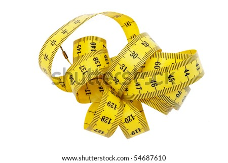 Yellow and black tape measure - cm. Isolated.