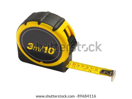 Yellow and black tape measure, isolated on white background with clipping path - stock photo
