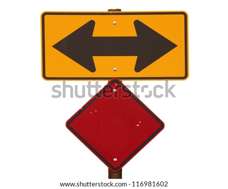 yellow and black two way arrow road sign with red warning marker - stock photo