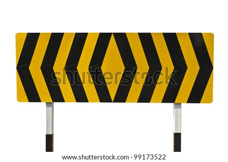 yellow and black warning sign on white with clipping path - stock photo