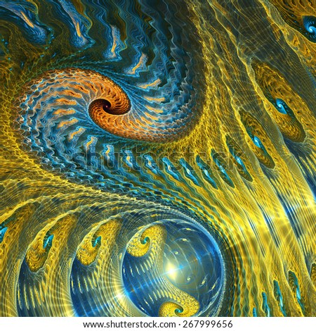 Yellow and blue abstract fractal swirl - stock photo