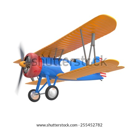 Yellow and blue biplane isolated on white background - stock photo