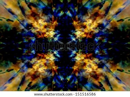 Yellow and blue light kaleidoscope background - stock photo
