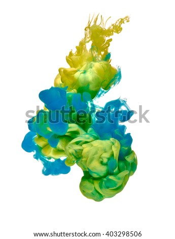 yellow and blue paint in water - stock photo