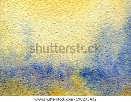 Yellow and blue texture landscape. Watercolor background on course structured paper - stock photo