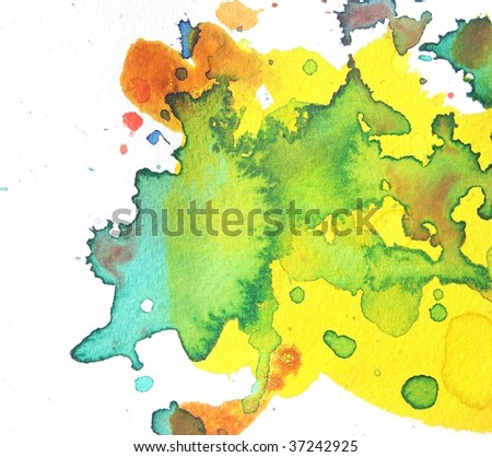 yellow and green abstract watercolor splash background - stock photo