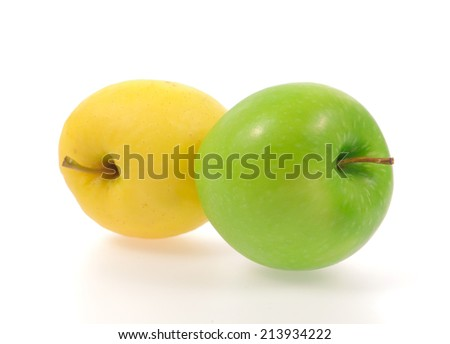 Yellow and green apples isolated on white background