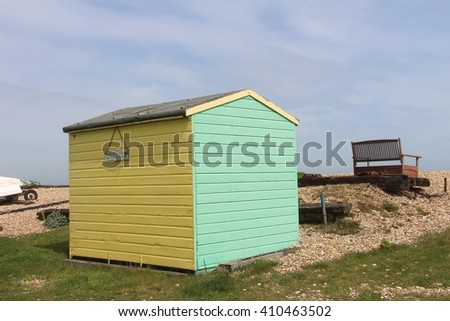 Yellow and Green Beach Hut, Littlestone, Kent