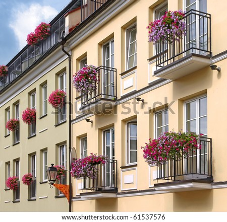 Yellow and green buildings with windows with flovers - stock photo