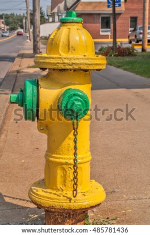 Yellow and green fire hydrant on a city sidewalk
