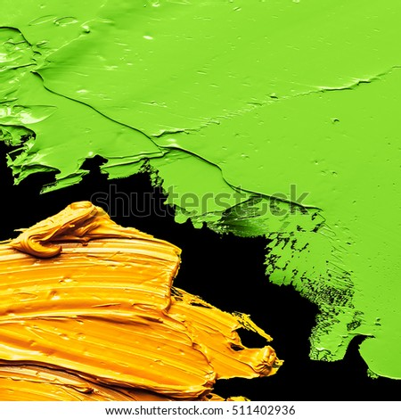 yellow and green  OIL PAINT BACKGROUND ON A black  PALETTE