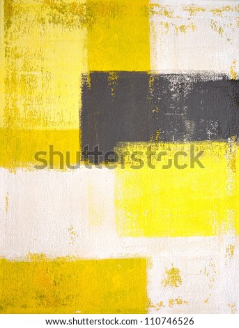 Yellow and Grey Abstract Art Painting - stock photo