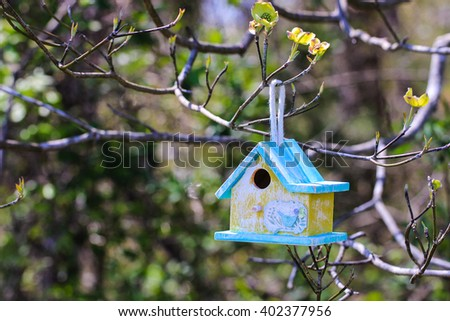 Yellow and mint green birdhouse with butterfly hanging from tree branch with flowers and foliage blurred in background - stock photo