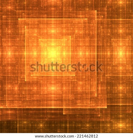 Yellow and orange abstract square-like rough shining fractal spiral with many rough decorative intersecting lines and beams and a glowing center  - stock photo