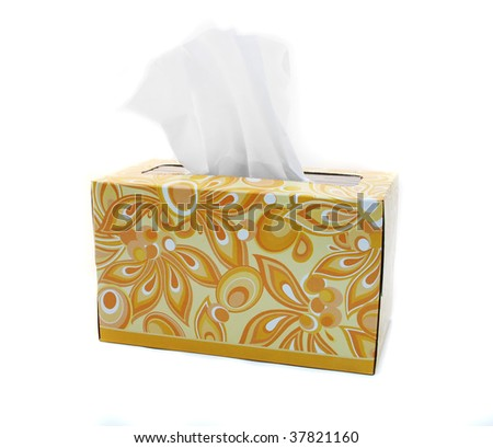 Yellow and Orange Box of Tissues on White Background - stock photo
