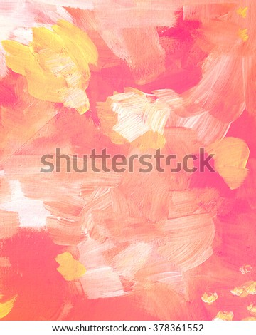 Yellow and pink acrylic paint texture. Abstract background for editing and design - stock photo