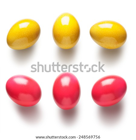 Yellow and pink painted easter eggs collection isolated on white background - stock photo