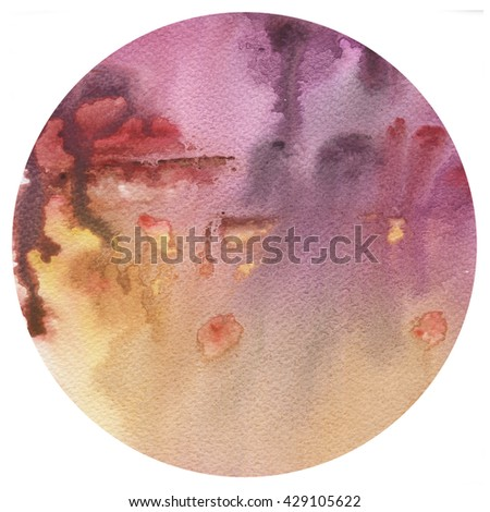 Yellow and purple spots gradient circle, watercolor abstract hand painted texture. Palette background.